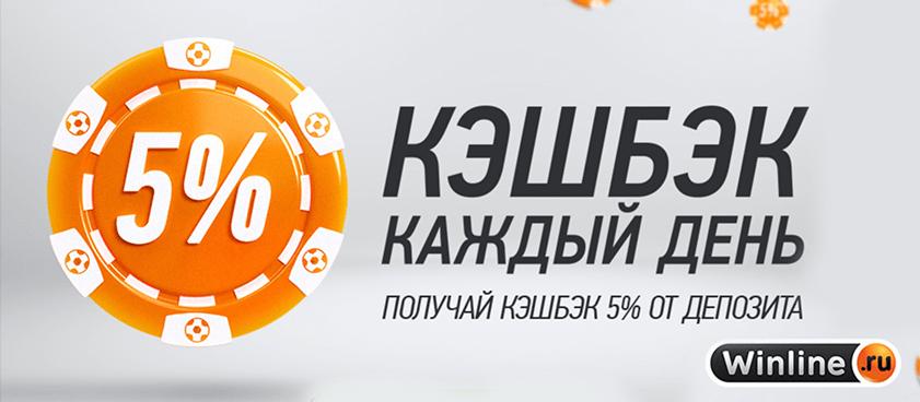 5% кэшбек каждый день с депозита и ставок в БК Винлайн!