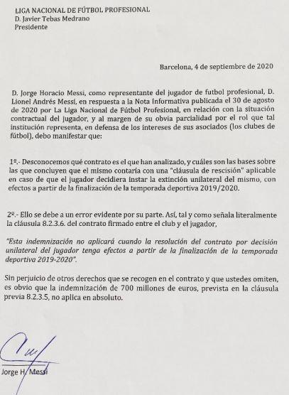 Messi letter La liga