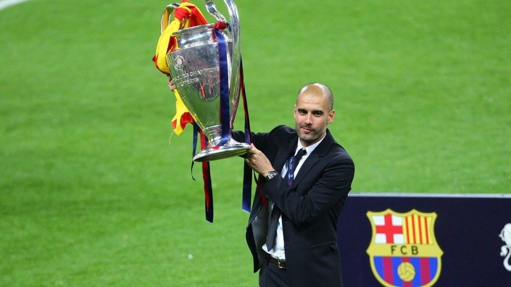 Pep Guardiola cl trophy