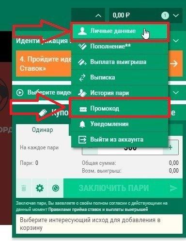 kak aktivirovat promokod bk liga stavok ru