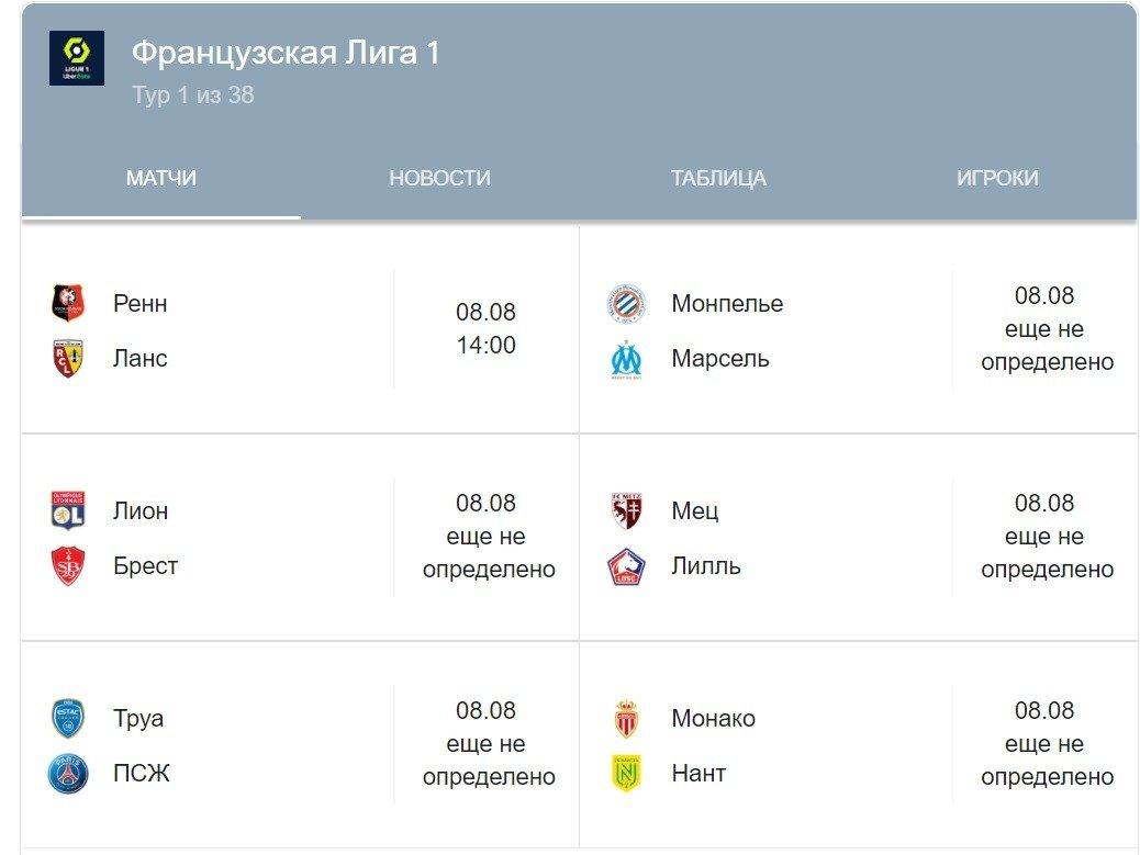 kalendar ligi 1 frantsiya sezon 2021 2022